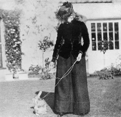 Beatrix walking Benjamin Bunny